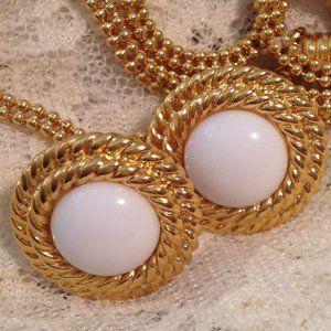 Vintage Napier Gold White Button Earrings